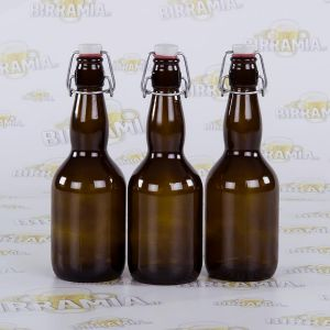 12 bottles with porcelain mechanical stopper, capacity 0,50 L