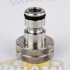 "Stainless steel male coupler with 3/4"" female thread for tap"