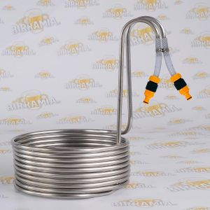 Stainless Steel wort chiller with quick couplings for 20 litres