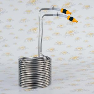 Stainless Steel wort chiller with quick couplings for 20 litres - MADE IN ITALY