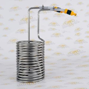 Stainless Steel wort chiller for 25/30 litres, with plastic hose fittings