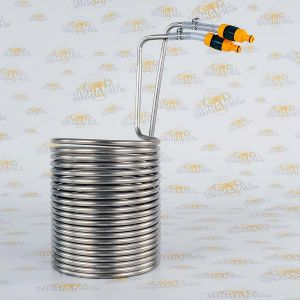 Stainless Steel wort chiller with quick couplings for 50 litres